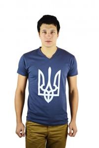 """Чоловіча патріотична футболка """"Тризуб"""" графіт М-901"""