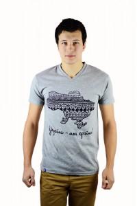 "Чоловіча патріотична футболка ""Україна моя країна"" сіра М-904-2"