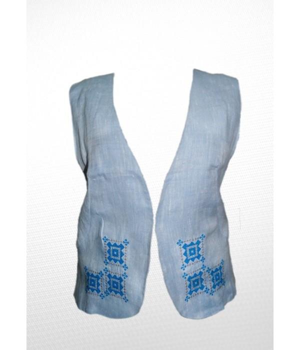 Камізелька жіноча Голуба з синьою вишивкою з Льону