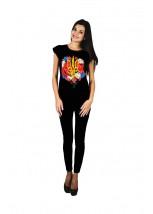 """Жіноча патріотична футболка """"Тризуб квіти"""" чорна М-955"""