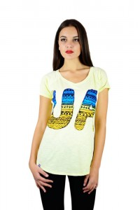 """Жіноча патріотична футболка """"UA синьо-жовта"""" жовта реглан М-956-1"""