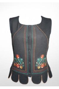 """Камізелька """"Чорна з оранжево-зеленою вишивкою"""" М-10072-2"""