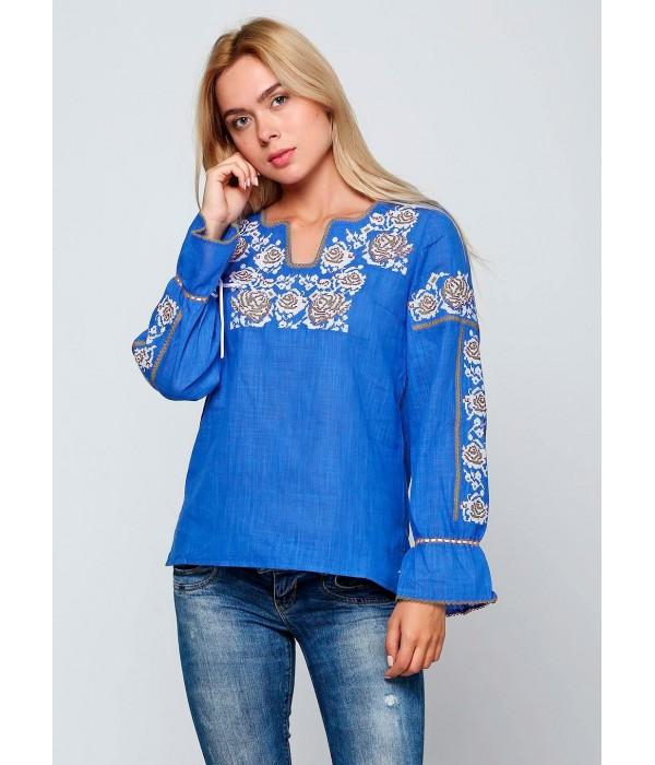 Синя жіноча вишиванка М-230-4