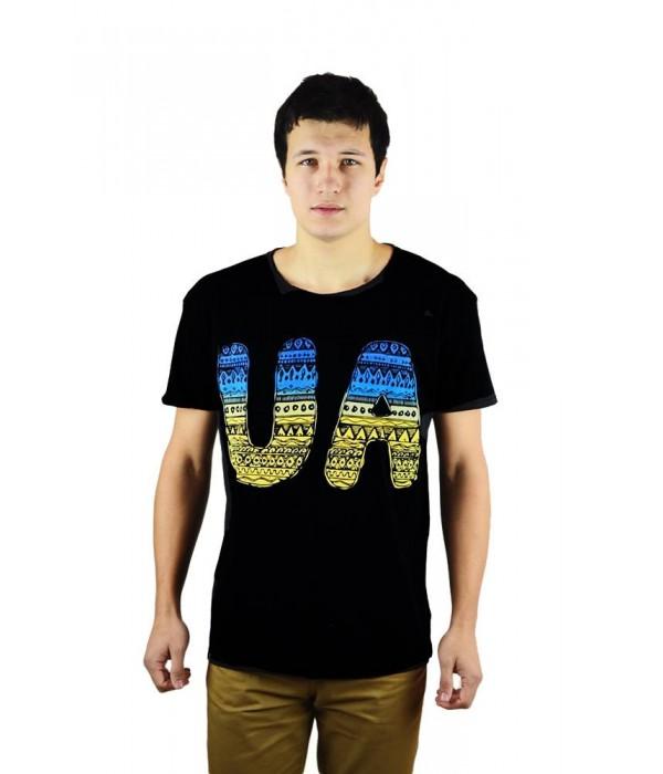 """Чоловіча патріотична футболка """"UA синьо-жовта"""" М-902, Чоловіча патріотична футболка """"UA синьо-жовта"""" М-902 купити"""
