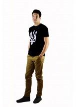 """Чоловіча патріотична футболка """"Тризуб"""" чорний М-903"""