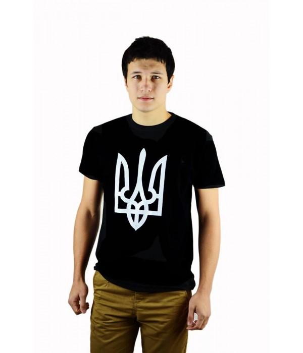 """Чоловіча патріотична футболка """"Тризуб"""" чорний М-903, Чоловіча патріотична футболка """"Тризуб"""" чорний М-903 купити"""