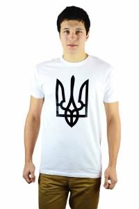 """Чоловіча патріотична футболка """"Тризуб"""" білий М-903-1"""