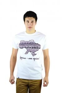 "Чоловіча патріотична футболка ""Україна моя країна"" біла М-904-1"