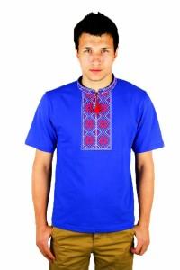 Вишита футболка «Народна» М-615-98 Вишивка: Коричнево-червона