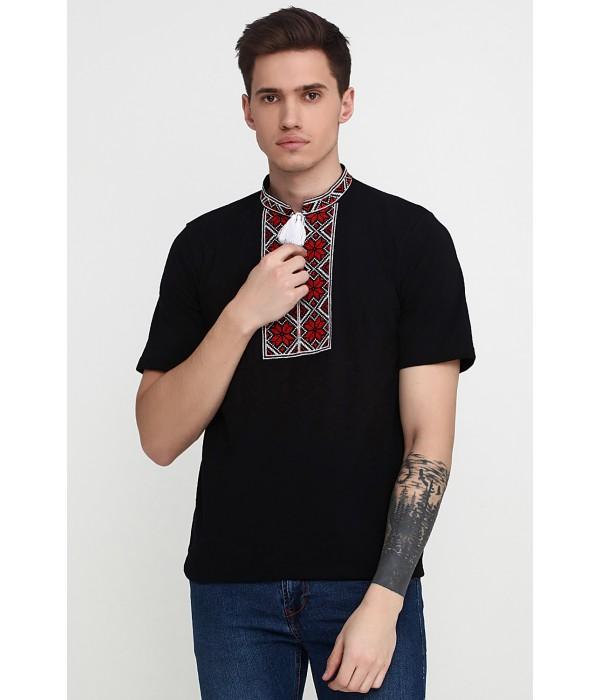 Вышитая футболка «Народная» М-615-14, Вышитая футболка «Народная» М-615-14 купити