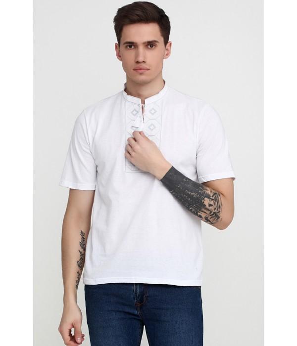 "Вышитая футболка Етномодерн ""Ромбы"" М-614-1, Вышитая футболка Етномодерн ""Ромбы"" М-614-1 купити"