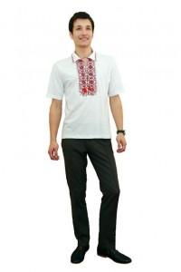 Вышитая футболка крестиком «Ромбы» с воротником М-614