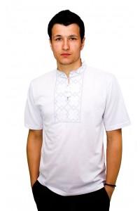 Вышитая футболка гладью «Снежинка» М-616-2