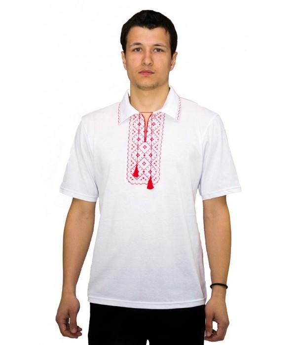 Вишита футболка хрестиком «Поло» М-612-11, Вишита футболка хрестиком «Поло» М-612-11 купити
