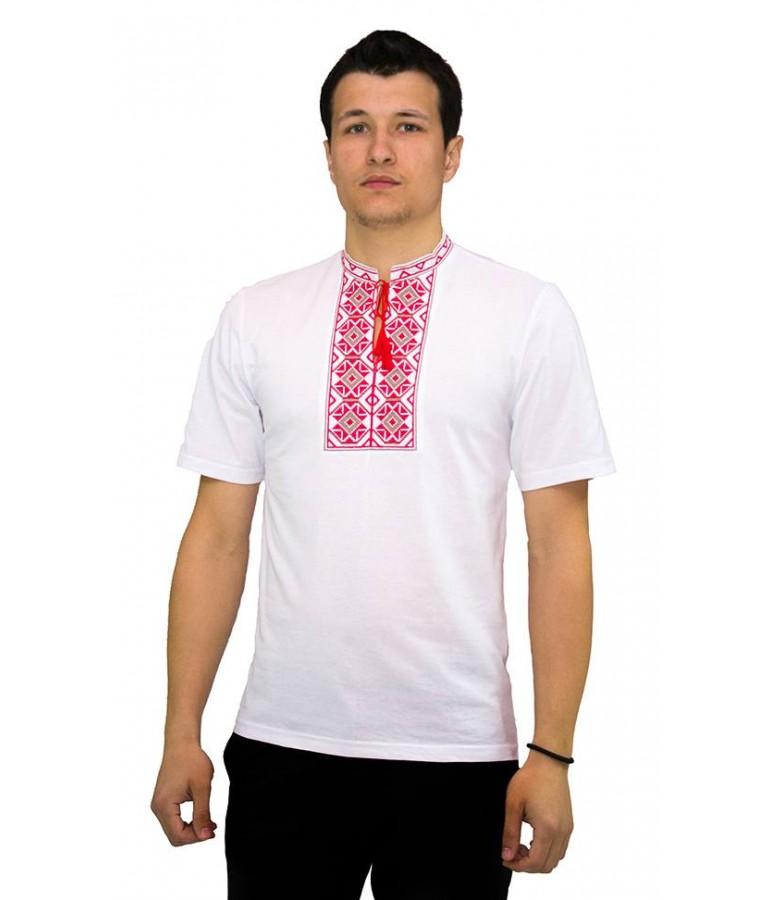 Вишита футболка хрестиком «Ромби» М-614-5 купити у Львові 20a75a9771b36