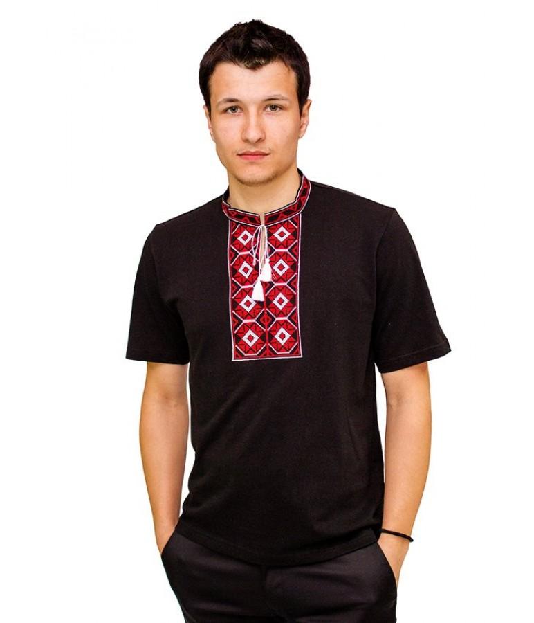 Вишита футболка хрестиком «Ромби» М-614-14 купити у Львові 5672a7488f631