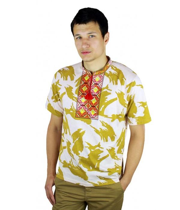 Вышитая футболка крестиком «Ромбы» М-614-20, Вышитая футболка крестиком «Ромбы» М-614-20 купити