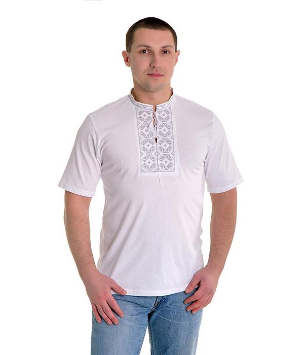 Вишита футболка хрестиком «Ромби» М-614-1, Вишита футболка хрестиком «Ромби» М-614-1 купити