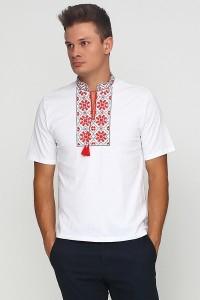 Вышитая футболка гладью «Снежинка» М-616-1
