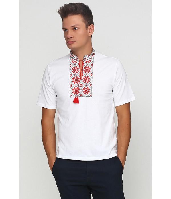 Вышитая футболка гладью «Снежинка» М-616-1, Вышитая футболка гладью «Снежинка» М-616-1 купити