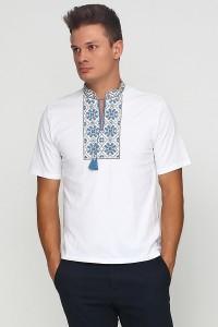Вышитая футболка гладью «Снежинка» М-616