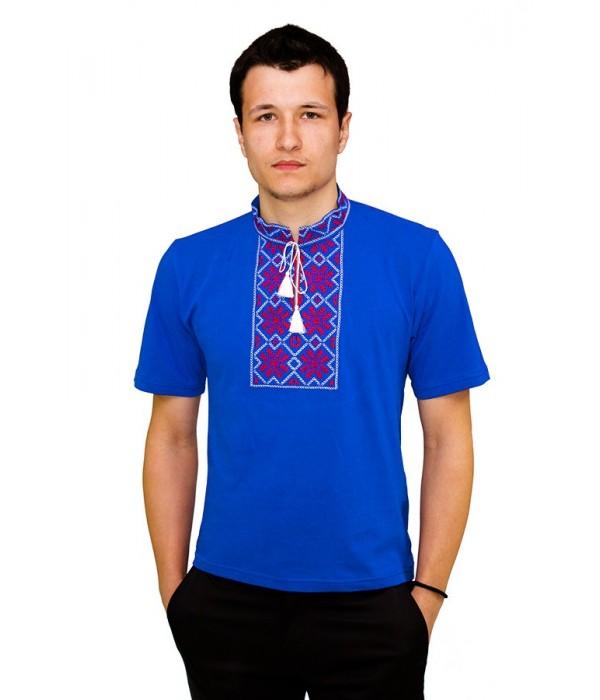 Вышитая футболка гладью «Снежинка» М-616-12, Вышитая футболка гладью «Снежинка» М-616-12 купити