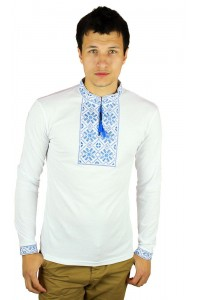 Вышитая футболка гладью «Снежинка» М-616-8