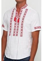 Рубашка вышитая крестиком и украшенная мережкой  М-403-13
