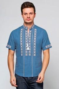 Светло-голубая мужская вышитая рубашка  М-403-38
