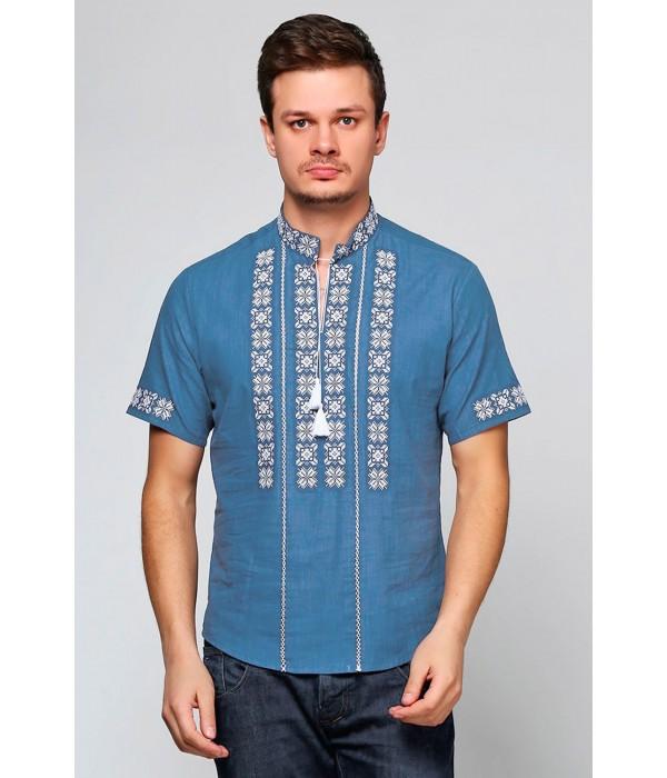 Світло-блакитна чоловіча вишиванка  М-403-38, Світло-блакитна чоловіча вишиванка  М-403-38 купити