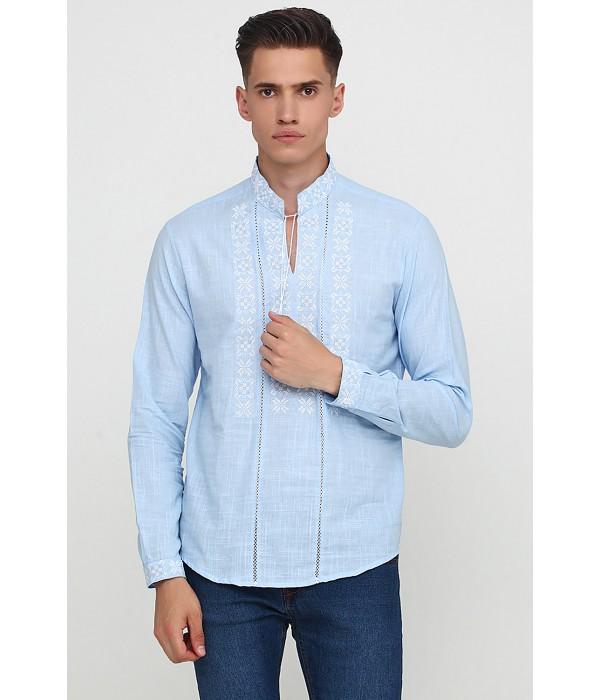 Рубашка вышитая крестиком и украшенная мережкой М-403-6, Рубашка вышитая крестиком и украшенная мережкой М-403-6 купити