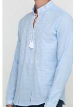 Рубашка вышитая крестиком и украшенная мережкой М-403-6