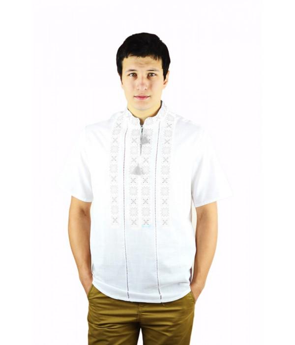 Рубашка вышитая крестиком и украшенная мережкой  М-403-42, Рубашка вышитая крестиком и украшенная мережкой  М-403-42 купити