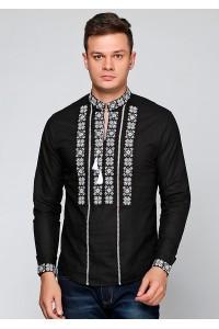 Рубашка вышитая крестиком и украшенная мережкой  М-403