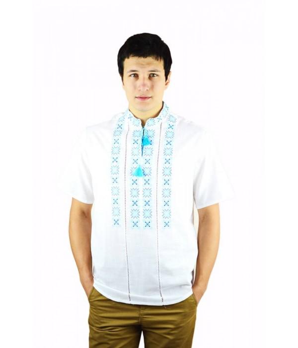 Рубашка вышитая крестиком и украшенная мережкой  М-403-15, Рубашка вышитая крестиком и украшенная мережкой  М-403-15 купити