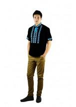 Рубашка вышитая крестиком и украшенная мережкой  М-403-16