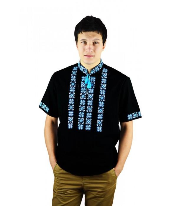 Рубашка вышитая крестиком и украшенная мережкой  М-403-16, Рубашка вышитая крестиком и украшенная мережкой  М-403-16 купити