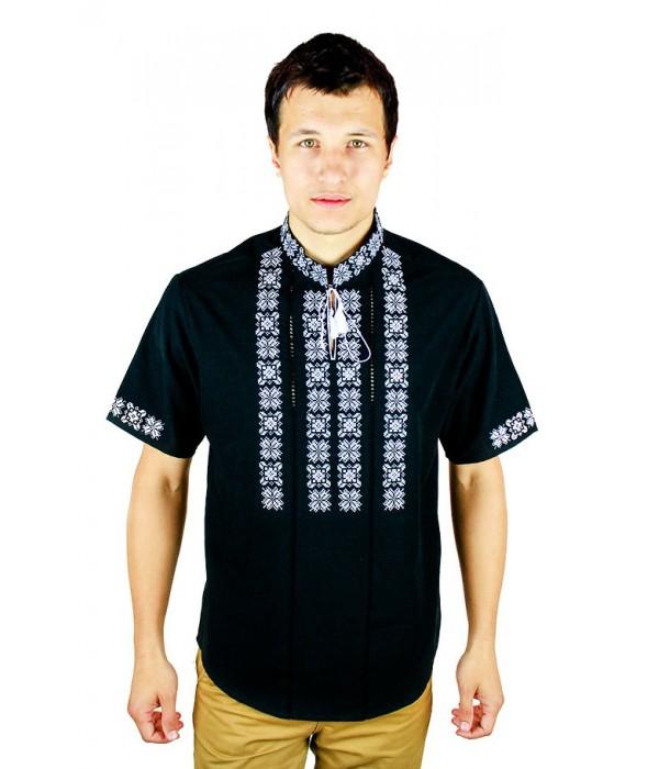 Рубашка вышитая крестиком и украшенная мережкой  М-403-8, Рубашка вышитая крестиком и украшенная мережкой  М-403-8 купити