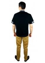 Рубашка вышитая крестиком и украшенная мережкой  М-403-8
