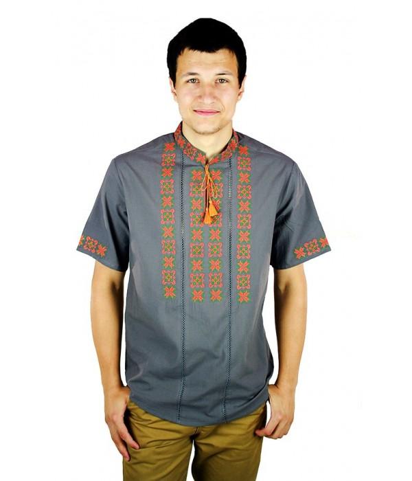 Рубашка вышитая крестиком и украшенная мережкой  М-403-12, Рубашка вышитая крестиком и украшенная мережкой  М-403-12 купити
