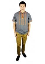 Рубашка вышитая крестиком и украшенная мережкой  М-403-12