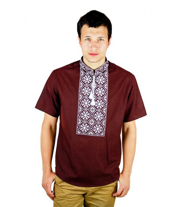 Рубашка вышитая гладью «Снежинка»  М-412-9, Рубашка вышитая гладью «Снежинка»  М-412-9 купити