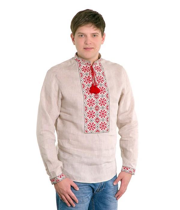 Рубашка вышитая гладью «Снежинка» М-412-3, Рубашка вышитая гладью «Снежинка» М-412-3 купити