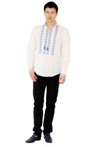 Рубашка вышитая крестиком и украшенная мережкой М-403-4