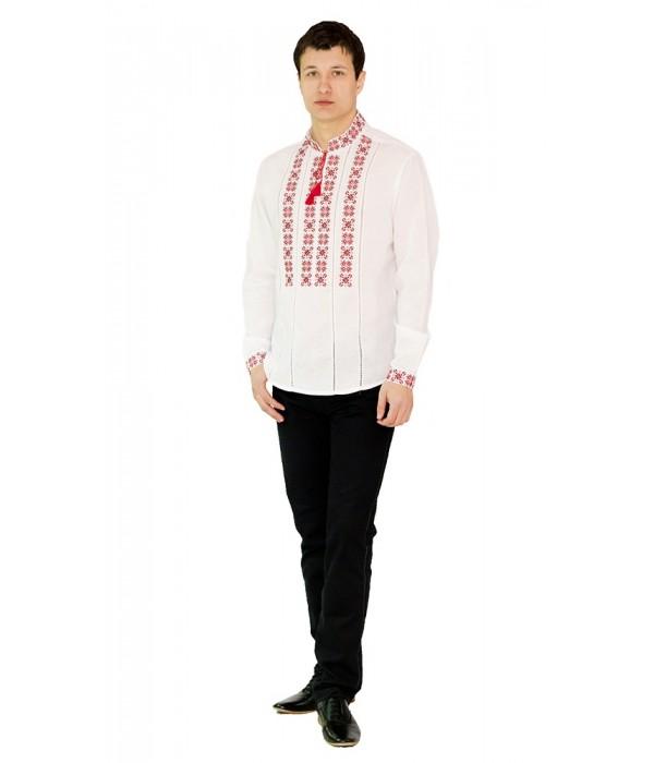 Рубашка вышитая крестиком и украшенная мережкой М-403-5, Рубашка вышитая крестиком и украшенная мережкой М-403-5 купити