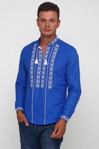 Рубашка вышитая крестиком и украшенная мережкой  М-403-18