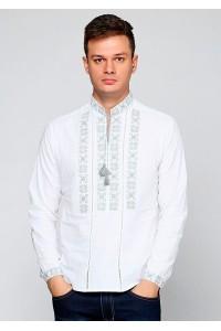Рубашка вышитая крестиком и украшенная мережкой М-403-22