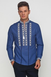 Рубашка вышитая крестиком и украшенная мережкой М-403-23