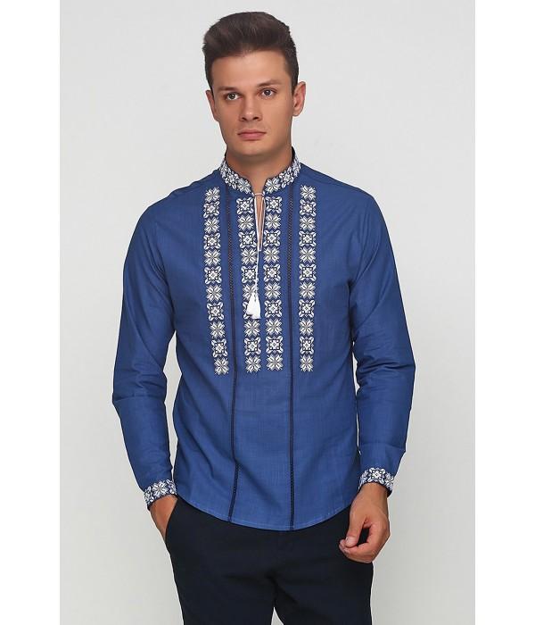 Рубашка вышитая крестиком и украшенная мережкой М-403-23, Рубашка вышитая крестиком и украшенная мережкой М-403-23 купити