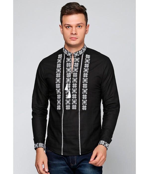 Рубашка вышитая крестиком и украшенная мережкой  М-403, Рубашка вышитая крестиком и украшенная мережкой  М-403 купити